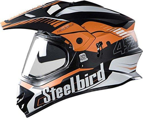 Steelbird Off Road Racing SB-42 Helmet with Plain Visor (Matt Black and Dark Orange, L)-Automotive Parts and Accessories-Steelbird-Helmetdon
