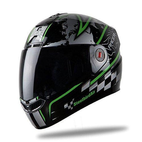 Steelbird Racer SBA-1 Helmet with Plain Visor (Matt Black and Green, M)-Helmets-Steelbird-L-Helmetdon