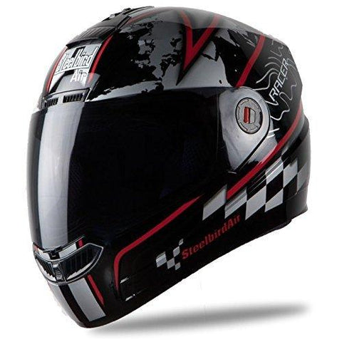 Steelbird Racer SBA-1 Helmet with Plain Visor (Matt Black and Red, M)-Automotive Parts and Accessories-Steelbird-Helmetdon
