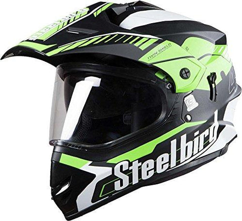 STEELBIRD SB-42 AIRBORNE MOTOCROSS HELMET MATT FINISH WITH PLAIN VISOR (LARGE 600 MM, MATT BLACK WITH GREEN)-Automotive Parts and Accessories-Steelbird-Helmetdon