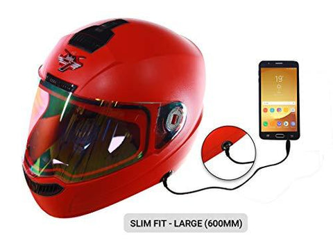 Steelbird SBA-1 7Wings Hands Free Dashing Full Face Helmet (Large 600 MM Slim Fit, Red with Night Vision Gold Visor)-Automotive Parts and Accessories-Steelbird-Helmetdon