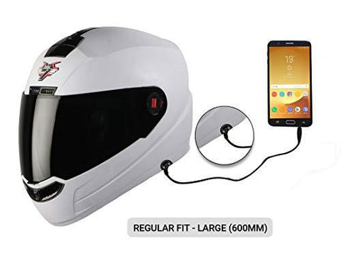 Steelbird SBA-1 7Wings HF Dashing Full Face Helmet and Detachable Handsfree Device (Regular Fit Large 600 MM, Dashing White with Smoke Visor)-Automotive Parts and Accessories-Steelbird-Helmetdon