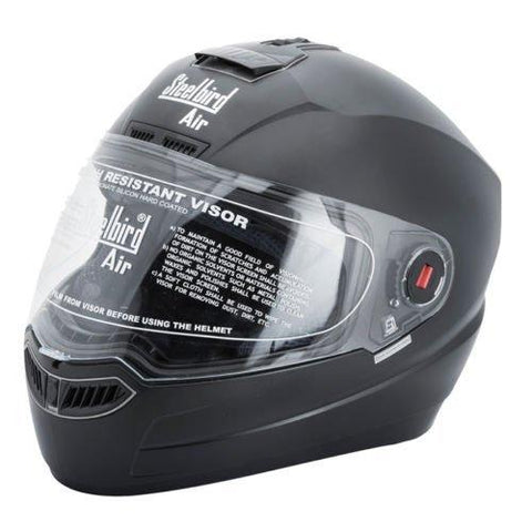 Steelbird SBA-1 Dashing Black with Plain visor,600 mm-Automotive Parts and Accessories-Steelbird-Helmetdon