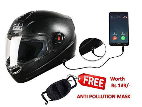 Steelbird SBA-1 HF Dashing Full Face Helmet with Plain Visor and Handsfree Device (BLACK, 600MM)-Automotive Parts and Accessories-Steelbird-Helmetdon