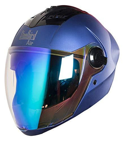 Steelbird SBA-2 Full Face Helmet in Matt Finish with Rainbow Inner Visor (Large 600 MM, Yamaha Blue)-Automotive Parts and Accessories-Steelbird-Helmetdon