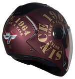 Steelbird SBA-2 TANK 1964 Dual Visor with Outer Night Vision Visor in Matt Finish (Medium 580MM, Maroon/Gold)-Automotive Parts and Accessories-Steelbird-Helmetdon