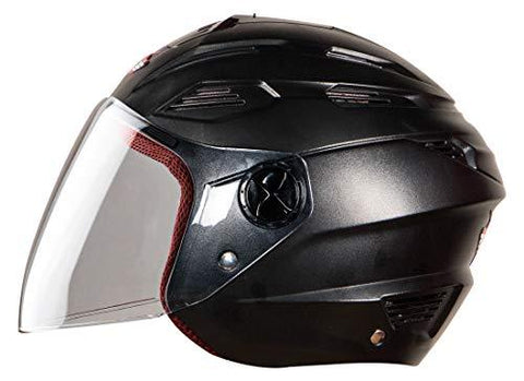 Steelbird SBA-6 7Wings Ela Dashing Open Face Helmet for Girls with Plain Visor (Large 600 MM, Dashing Black)-Automotive Parts and Accessories-Steelbird Hi Gn-Helmetdon