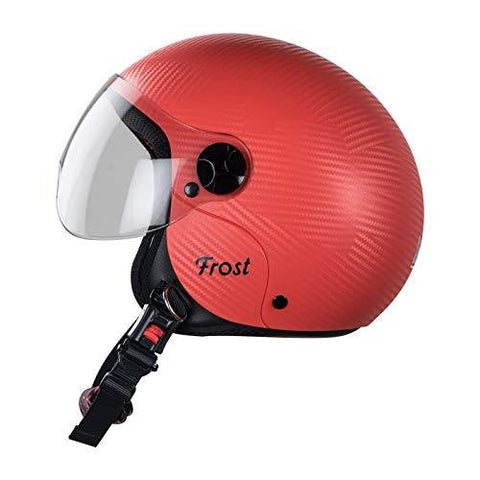 Steelbird SBH-16 7Wings Frost Dashing Helmet for Girls with Plain Visor (Medium 580 MM, Red)-Automotive Parts and Accessories-Steelbird Hi Gn-Helmetdon