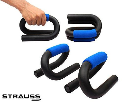 Strauss Power Push Up Bar, (Black/Blue)-Sports-STRAUSS-Helmetdon