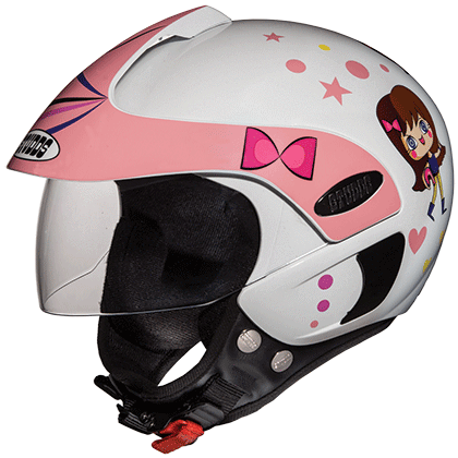 Studds Marshall Kids Helmet for Boys and Girls-Helmets-Studds-D1 WHITE N8(GIRLS)-Helmetdon