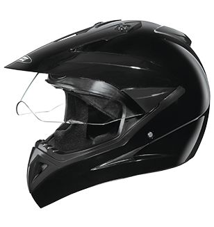 Studds Motocross Plain Full Face Helmet with Plain Visor-Helmets-Studds-XL (Head Size 60 cm)-Black-Helmetdon