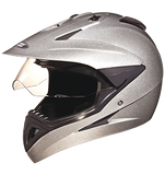 Studds Motocross Plain Full Face Helmet with Plain Visor-Helmets-Studds-XL (Head Size 60 cm)-Silver Grey-Helmetdon