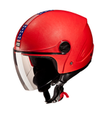 Studds Track Open Face Helmet-Helmets-Studds-XL (Head Size 60 cm)-Red with American Flag-Helmetdon