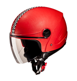 Studds Track Open Face Helmet-Helmets-Studds-XL (Head Size 60 cm)-Red with racing flag-Helmetdon