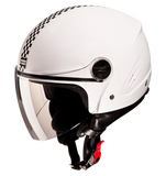 Studds Track Open Face Helmet-Helmets-Studds-XL (Head Size 60 cm)-White with racing flag-Helmetdon