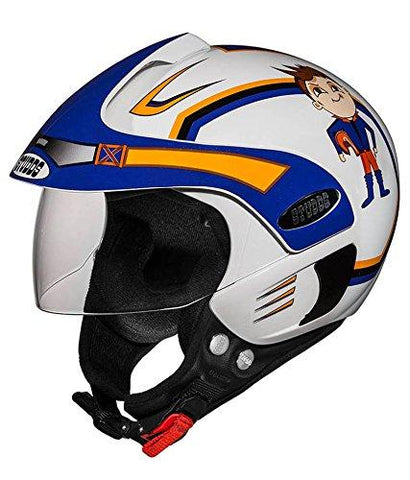 Studds White Open Face Helmet For Kids White and Blue-Helmets-Studds-Helmetdon
