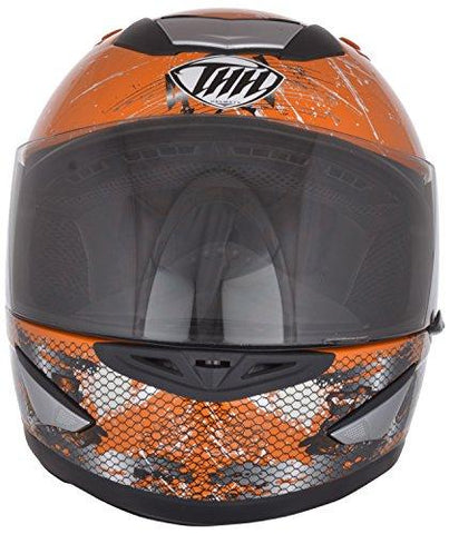 THH Helmets ABS Poly Carbonate Bull Full Face Helmet (Orange, Medium)-Automotive Parts and Accessories-THH Helmets-Helmetdon