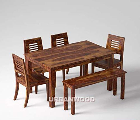 Urbanwood Sheesham Wood Wooden Dining Set 6 Seater Dining Table With Helmet Don