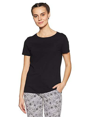 Van Heusen Women's 100% Cotton Round Neck Tee(55401_BLACK_XL)-Apparel-Van Heusen Woman-Helmetdon