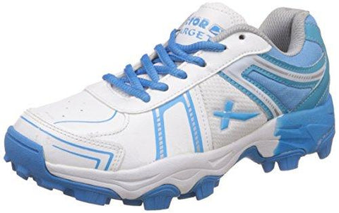 Vector X Target Cricket Shoes (White-Sky Blue)-Sports-Vector X-Helmetdon