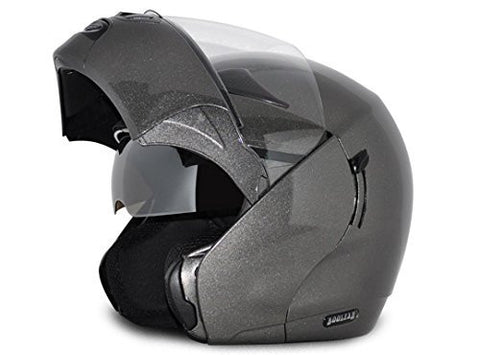 Vega Boolean Flip-up Helmet with Double Visor-Helmets-Vega-S (Head Size 55 to 57 cm)-Anthracite-Helmetdon