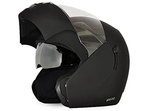 Vega Boolean Flip-up Helmet with Double Visor-Helmets-Vega-S (Head Size 55 to 57 cm)-Dull Black-Helmetdon