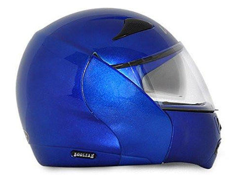 Vega Boolean Flip-up Helmet with Double Visor-Helmets-Vega-S (Head Size 55 to 57 cm)-Metallic Blue-Helmetdon