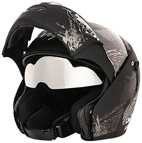 Vega Boolean Give Up Flip-up Graphic Helmet with Double Visor-Helmets-Vega-M-Black and Silver-Helmetdon