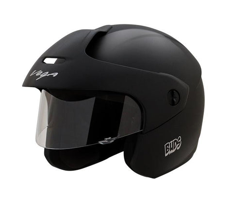 Vega Buds Junior Open Face Helmet for Kids-Helmets-Vega-50-54 CM Kids-Black-Helmetdon