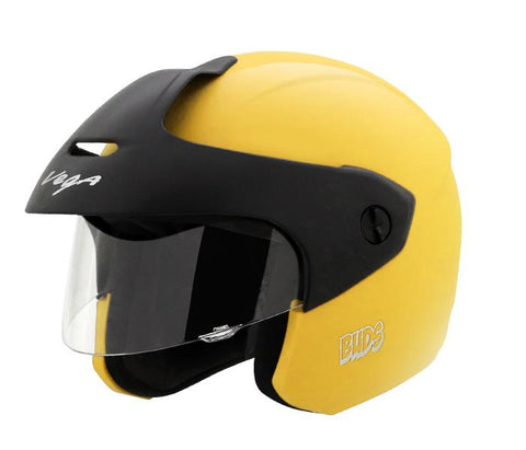 Vega Buds Junior Open Face Helmet for Kids-Helmets-Vega-50-54 CM Kids-Yellow-Helmetdon