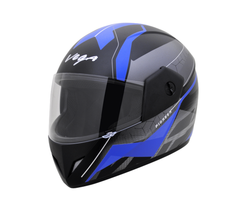 Vega Cliff DX Pioneer Graphics Full Face Helmet-Helmets-Vega-M ( Head Size 57 to 59 cm)-DULL BLACK BLUE HELMET-Helmetdon