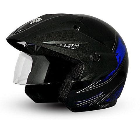Vega Cruiser Arrows Open Face Graphic Helmet with Peak-Helmets-Vega-M (Head Size 57 to 59 cm)-Black with Blue graphic-Helmetdon