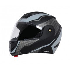 Vega Crux DX Checks Flip-up Helmet-Helmets-Vega-M (Head Size 57 to 59 cm)-DULL BLACK SILVER-Helmetdon