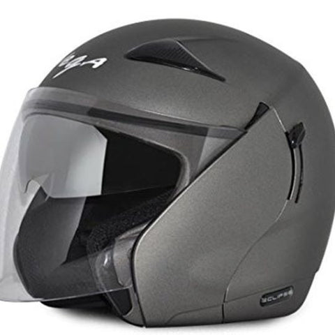 Vega Eclipse Open Face Helmet with Double Visor-Helmets-Vega-M (Head Size 57 to 59 cm)-Anthracite-Helmetdon