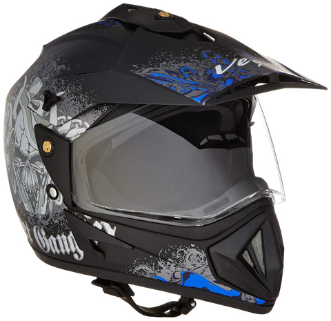 Vega Off Road D/V Gangster Full Face Helmet (Dull Black and Blue, L)-Automotive Parts and Accessories-Vega-Helmetdon