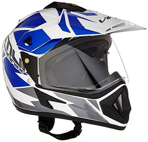 Vega Off Road D/V Mud Full Face Helmet (White and Blue, M)-Automotive Parts and Accessories-Vega-Helmetdon