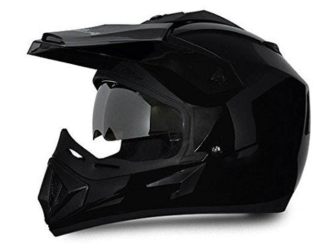 Vega Off Road Full Face Helmet-Helmets-Vega-S (Head Size 55 to 57 cm)-Black-Helmetdon