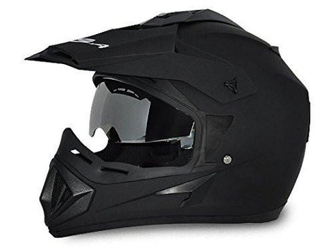 Vega Off Road Full Face Helmet-Helmets-Vega-S (Head Size 55 to 57 cm)-Dull Black-Helmetdon