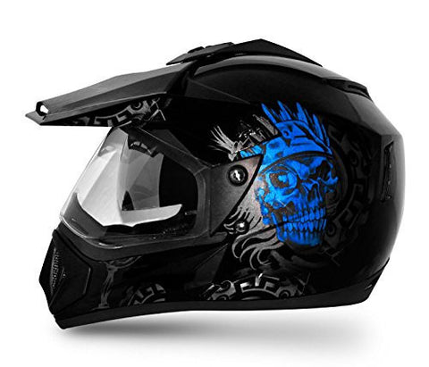 Vega Off-Road Ranger Full Face Helmet-Helmets-Vega-M (Head Size 57 to 59 cm)-Black n Blue-Helmetdon