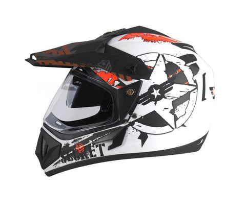 Vega Off Road Secret Full Face Graphic Helmet-Helmets-Vega-M (Head Size 57 to 59 cm)-Dull White Black-Helmetdon