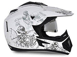 Vega Off Road Sketch Full Face Graphic Helmet-Helmets-Vega-L ( Head Size 59 to 61 cm)-White and Silver-Helmetdon