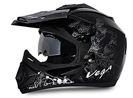 Vega Off Road Sketch Full Face Graphic Helmet-Helmets-Vega-M (Head Size 57 to 59 cm)-Black and Silver-Helmetdon