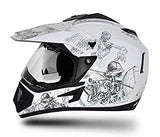 Vega Off Road Sketch Full Face Graphic Helmet-Helmets-Vega-M (Head Size 57 to 59 cm)-White and Silver-Helmetdon