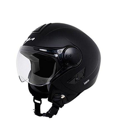 Vega Verve Open Face Helmet For Ladies-Helmets-Vega-S (Head Size 55 to 57 cm)-Dull Black-Helmetdon