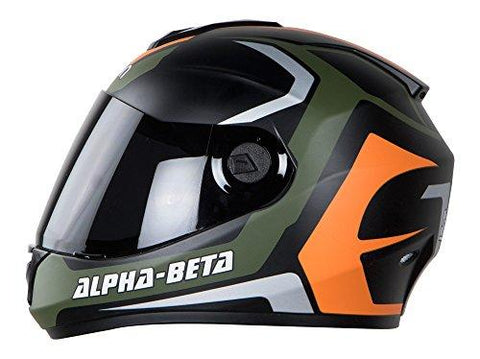 Vision Steelbird Alpha-Beta Full Face Graphics Men's Helmet In Matt Finish With Smoke Visor (Matt Battle Green/Orange, 580 Mm Medium)-Automotive Parts and Accessories-Vision-Helmetdon