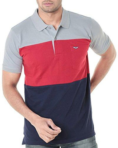 Wexford Men's Cotton Half Sleeve Polo T-Shirt (Red & Navy_Small)-Apparel-WEXFORD-Helmetdon