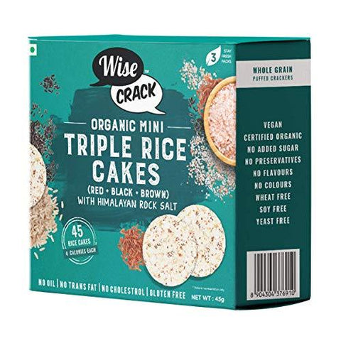 WiseCrack Organic Mini Triple Rice Cakes (Black + RED + Brown) - Whole Grain Puffed Cracker, Oil Free, NO Added Sugar, Crispy Healthy Snacks. (45g X 3) -45 Rice Cakes PER Box (Total 135 Rice Cakes)-Grocery-Wise Crack-Helmetdon