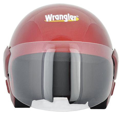 Wrangler Open Face Helmet with Visor (Wine Red, M)-Helmets-Wrangler-M-Helmetdon