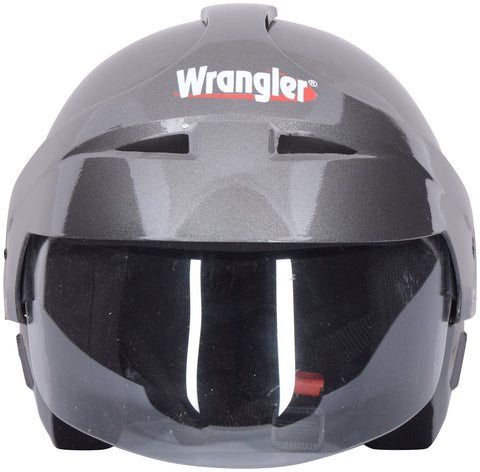Wrangler WRR_013 Endeavor Modified with Aerodynamic Cap and Visor Open Face Helmet (Silver Black, L)-Helmets-Wrangler-L-Helmetdon