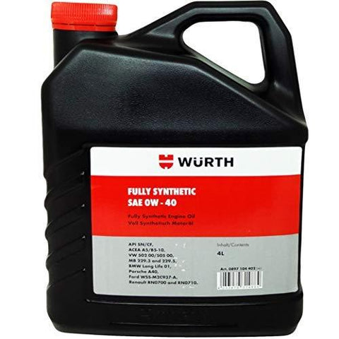 Wuerth SAE 0W-40 Fully Synthetic Engine Oil (4 L)-Automotive Parts and Accessories-Wuerth-Helmetdon